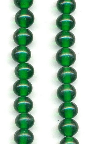 6mm Emerald Pressed Glass Beads