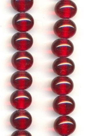 10mm Ruby Pressed Glass Beads