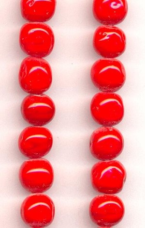 8mm Cherry Red Baroque Glass Beads