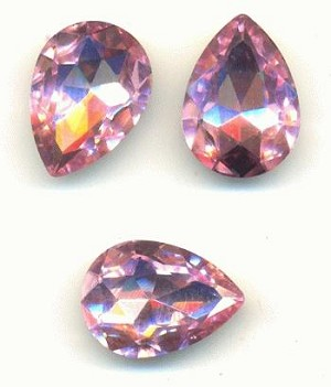 18x13mm Light Rose Pear Crystal RS
