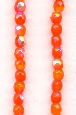 3mm Trans. Coral Orange AB Glass Beads