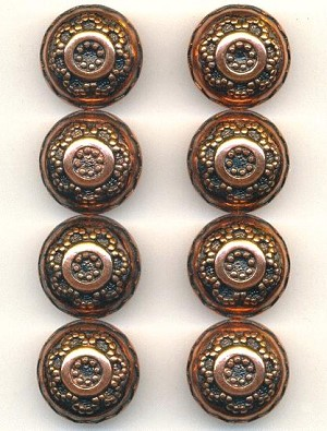 18mm Antique Copper Metalized Beads