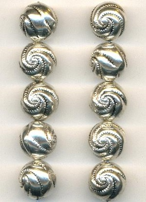 12mm Antique Silver Plated Spiral Beads