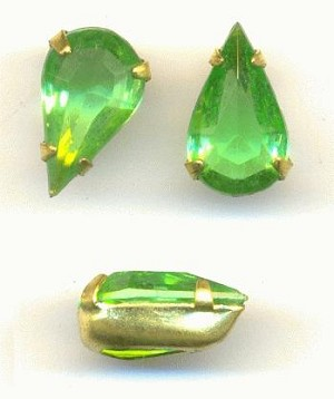 13x8mm TTC Peridot Pear In OB Setting