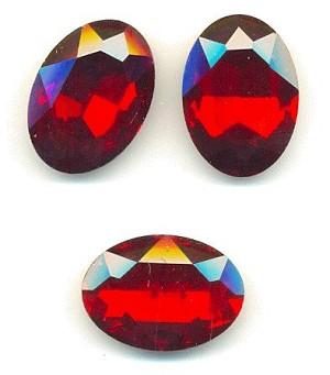 25x18mm Siam Ruby Oval Rhinestone