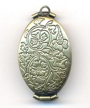 35x20mm Ant Bronze Oval Folding Locket