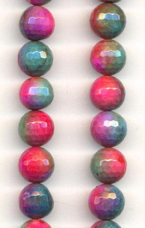 10mm Round Faceted Dyed Agate Beads