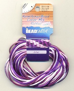 2mm Rattail Cord Color Mix - Lilac