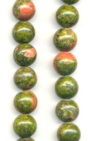 8mm Semi-Precious Unakite Beads