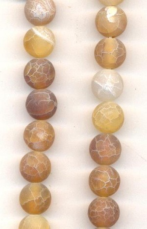 8mm Tan/White Crackle Agate Beads