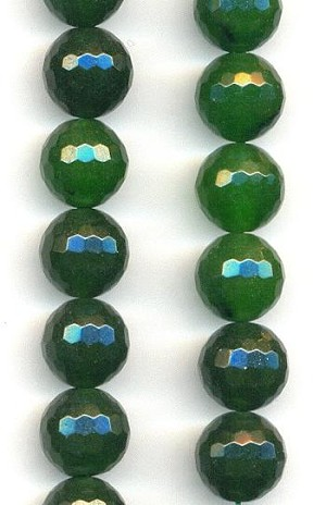 10mm Forest Green Faceted Agate Beads