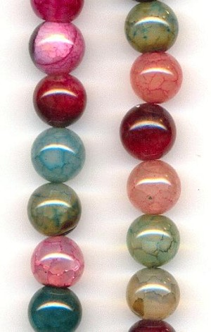 10mm Mixed Crackle Agate Dyed Beads