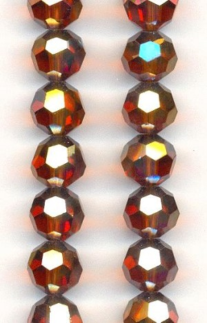 9mm Smoke Topaz/Luster Glass Beads