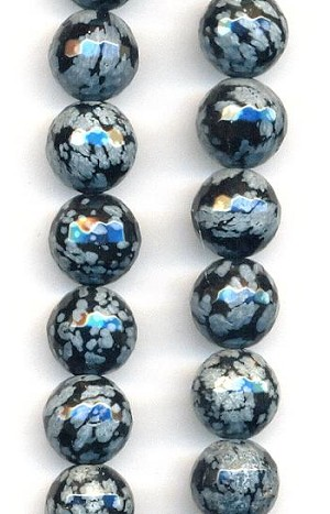 10mm Snow Flake Obsidian Faceted Beads