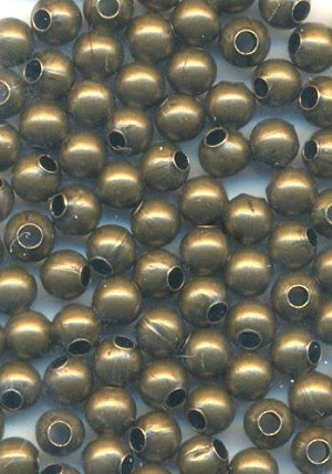 3mm Antique Brass Plated Metal Beads