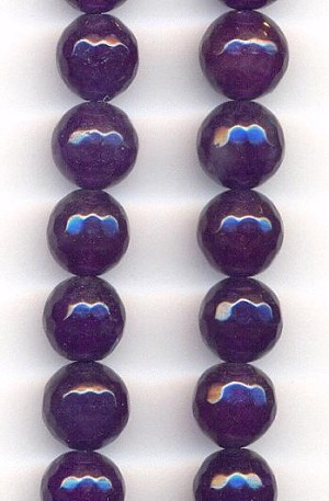 10mm Dark Purple Faceted Agate Beads