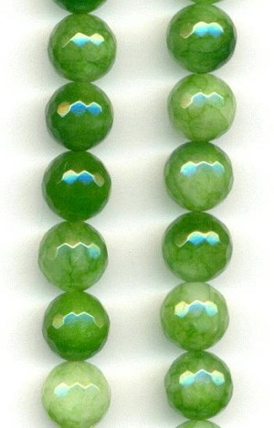 10mm Green/White Faceted Agate Beads