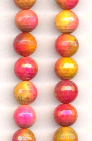 10mm Sunset Faceted Dyed Agate Beads