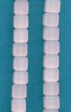 8mm Milky Light Pink Glass Cube Beads