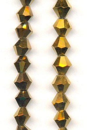 6.5mm Gold Plated Glass Bicone Beads
