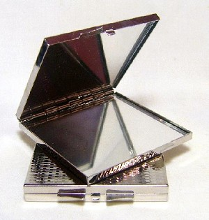 2 3/4'' Silver Plated Square Compacts