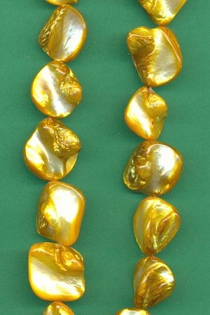 14'' Strand Yellow Mother-of-Pearl Beads