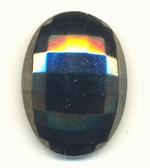 25x18mm Hematite Faceted Glass Stone