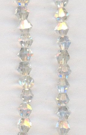 4mm Clear AB Bicone Glass Bead