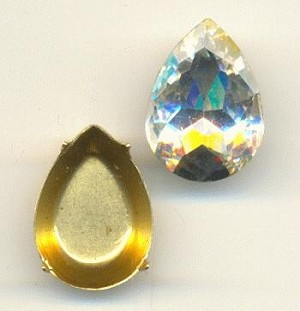 18x13mm Chinese Crystal Pear/Setting