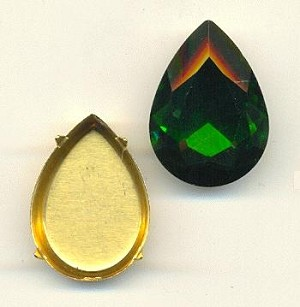 25x18mm Chinese Grass Green Pear/Setting