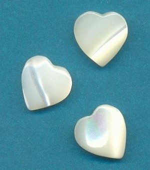 10.5mm Off-White MOP Heart Stones