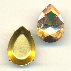 18x13mm Chinese Champagne Pear/Setting