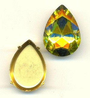 25x18mm Chinese Citrine Pear/Setting