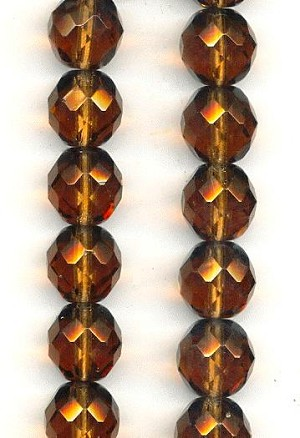 12mm Smoked Topaz Faceted Glass Beads