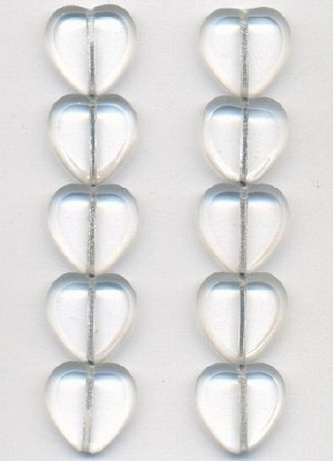 15mm Clear/Frosted Glass Heart Beads