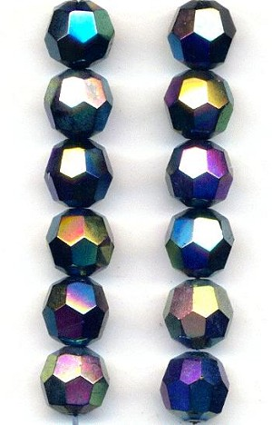 9.5mm Mixed Metallic Faceted Glass Beads