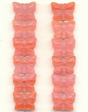 11x15 Grapefruit Frosted Butterfly Bead