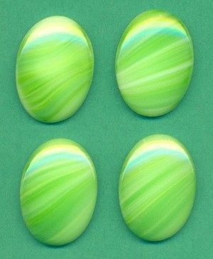 25x18mm Green Striped Agate Oval Stone