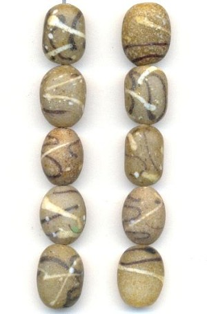 12.2x9.2mm Taupe/Brown/Cream Oval Beads