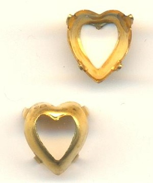 9mm OB Brass Heart Shaped Setting
