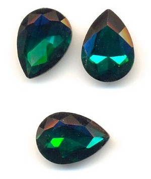 18x13mm Emerald/Green Zircon Pear RS