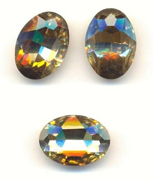 18x13mm Khaki/Lt Smoke Topaz Oval RS