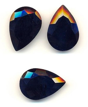 30x20mm Jet Black Pear Rhinestone