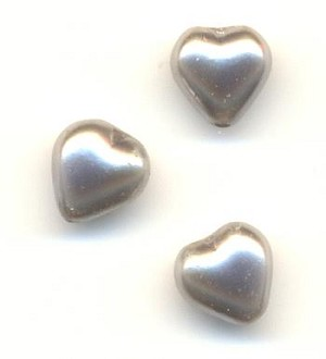 6mm Glass Silver Pearl Heart Beads