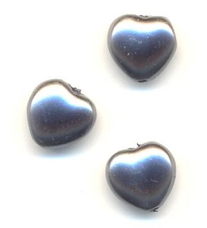 8mm Glass Charcoal Pearl Heart Beads