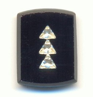 14x11mm Jet Stones w/Crystal Triangles