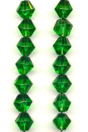 8mm Tourmaline Glass Bicone Beads