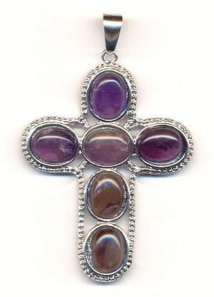 56x46mm Amethyst Cross Pendant