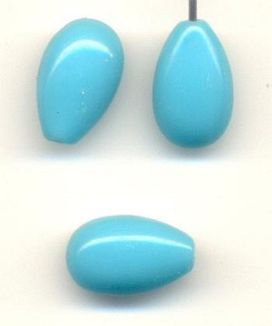 12x8mm Turquoise Glass Drop HALF DRILLED