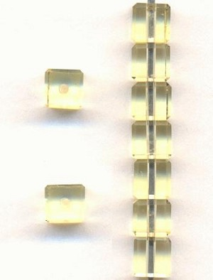 4mm Jonquil Glass Cube Beads